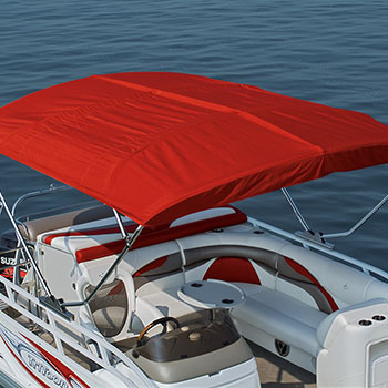 10' optional power bimini shown in fully extended position