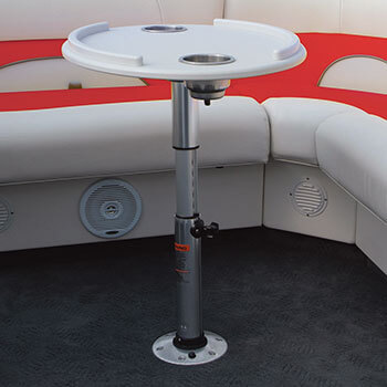 Optional sea-rail table with optional adjustable table leg