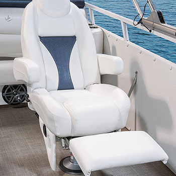Reclining captain's chair shown with leg lift