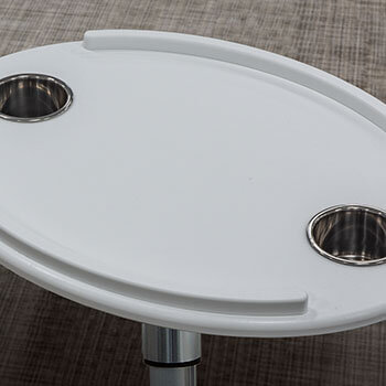 Table Oval with SS Cups (shown in white, also available in tan)